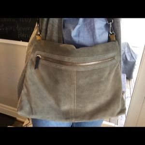 Sale. Dble sided grey & yellow suede messenger bag